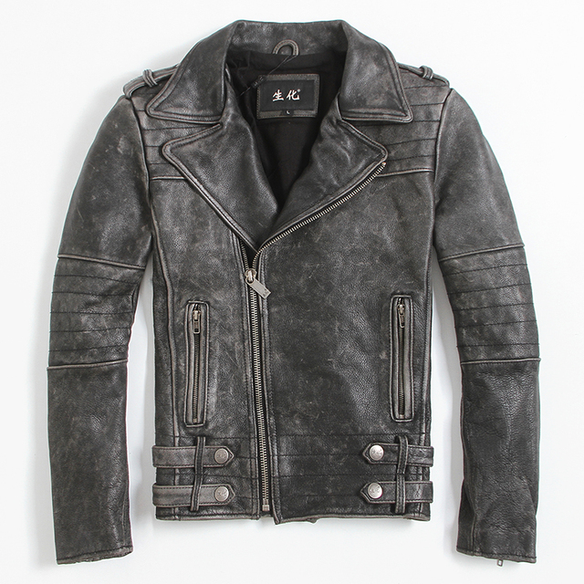 FREE SHIPPING 2017 New Men Vintage Black Leather Motorcycle Jacket Real Cowhide Diagonal Zipper Short Men Slim Fit Biker Coat