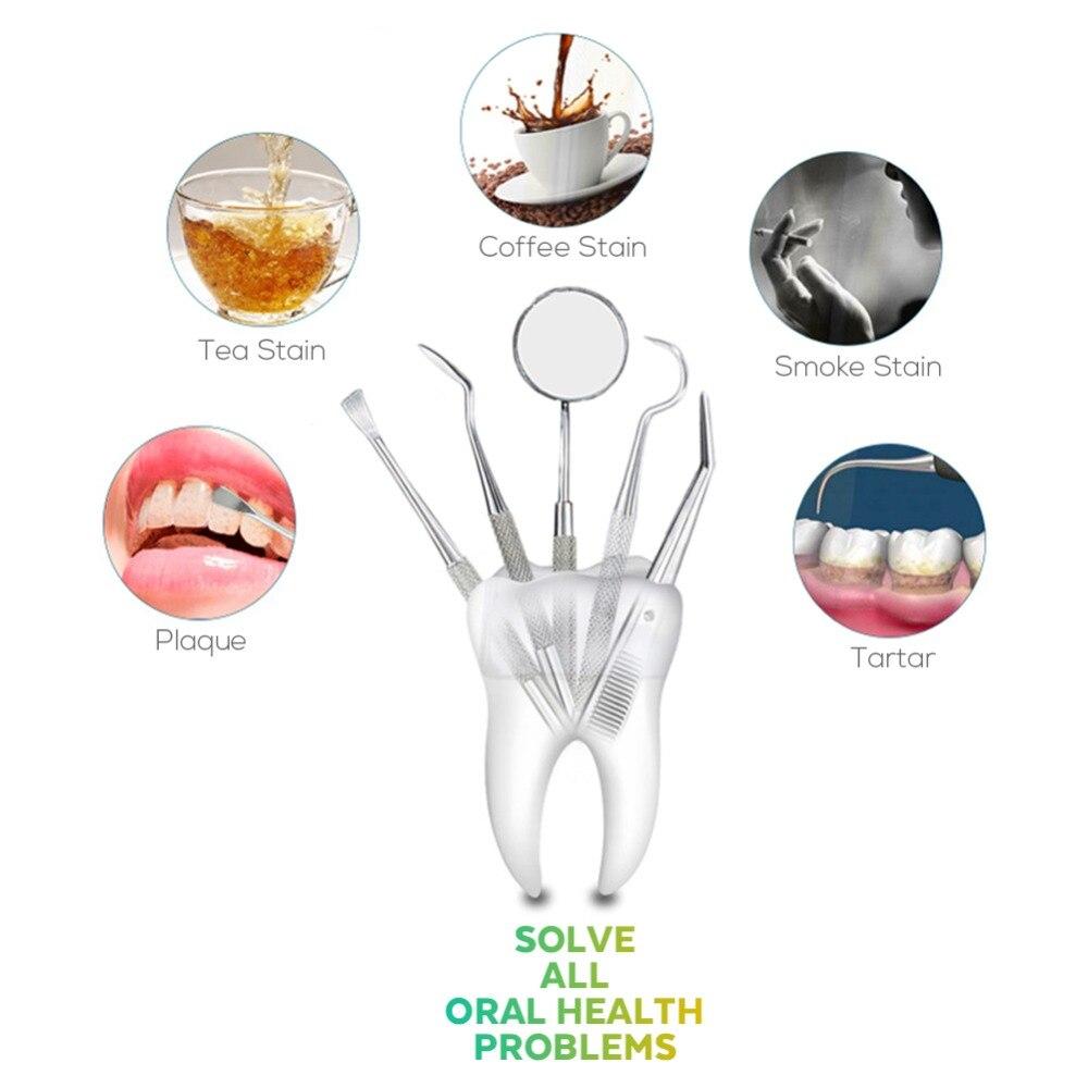Vaclav 4Pcs Dental Mirror Stainless Steel Dental Dentist Prepared Tool Set Probe Tooth Care Kit Instrument Hoe Sickle Scaler 5