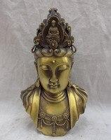 [old craft ] 8 Chinese Bronze Buddhism Goddess Kwan Yin GuanYin Buddha Head Bust Statue (A0314)