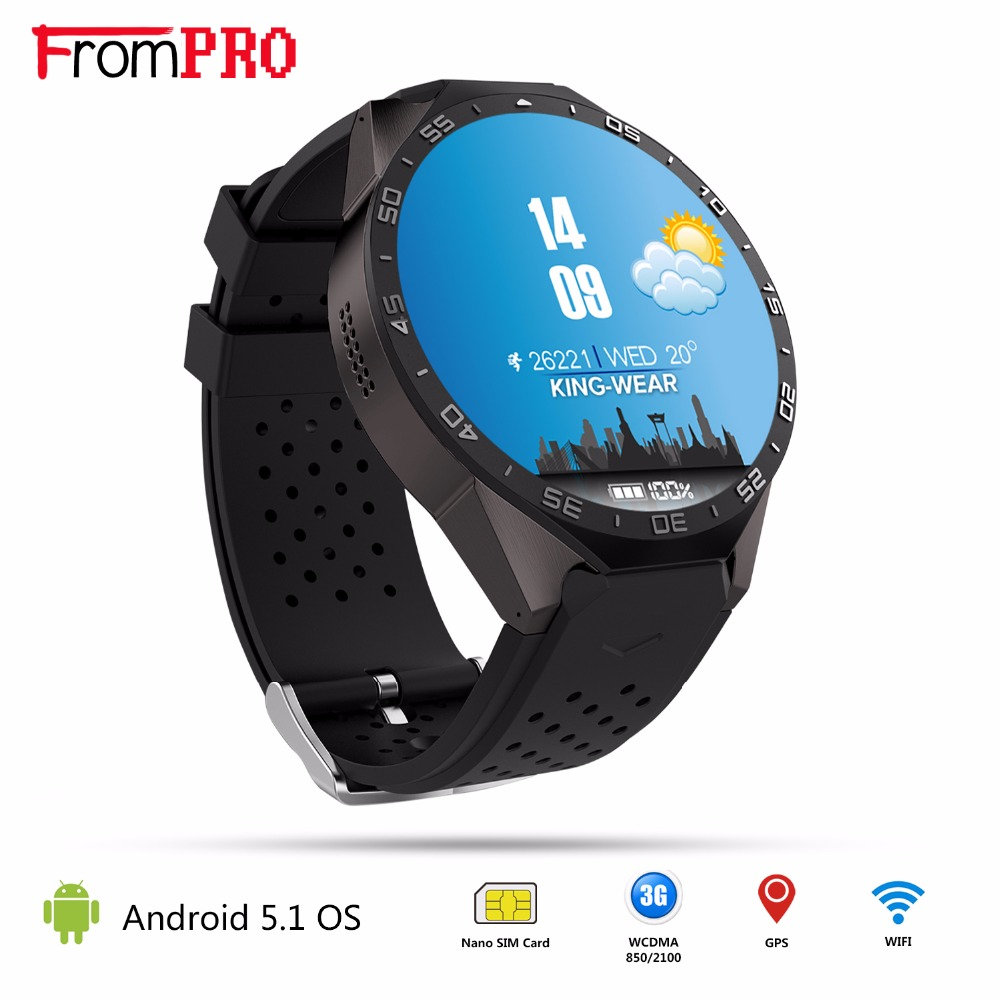 KW88 3G SIM Wifi GPS Smart Watch Android 5.1 MTK6580 Quad-Core CPU Round Screen Camera Wear Wrist Band Watches iOS PK LEM5 X5 i5 gsm wrist watch phone w 1 8 resistive screen quad band single sim and fm black