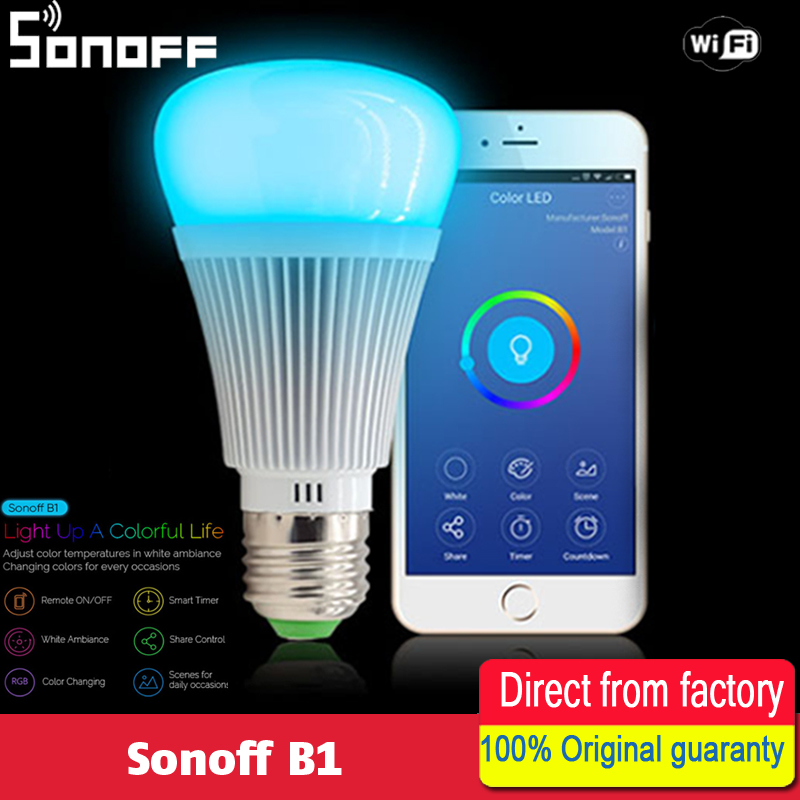 Sonoff B1 Dimmer Led Bulb Wifi Smart Remote Control Light Bulbs Led RGB and white color Changing Light Bulb Works With Alexa infrared remote control w led dimmer for led light stripe white