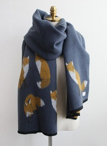 Image 5 - Winter bandana women cashmere Keep warm blanket scarf print fox high quality tassel pashmina ladies poncho and cape apparel