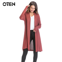 bf11b5b3cacdca ... dzianiny swetry rozpinane płaszcz Sweter. OTEN 2018 Spring Autumn Women  Long Sleeve Solid Color Casual Hollow Out Elegant Ladies Slim Thin