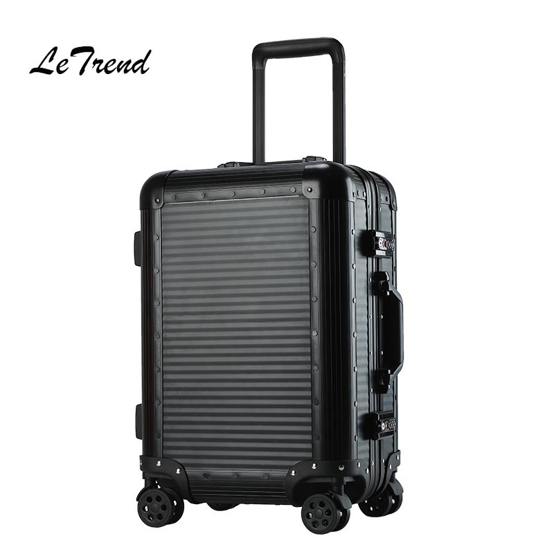 Letrend 100% Aluminum Alloy Rolling Luggage Spinner Women Retro Suitcases Wheel Men Business Trolley Black Cabin Travel Bag letrend oxford red rolling luggage suitcases on wheel men business trolley spinner fashion cabin luggage travel bag soft trunk