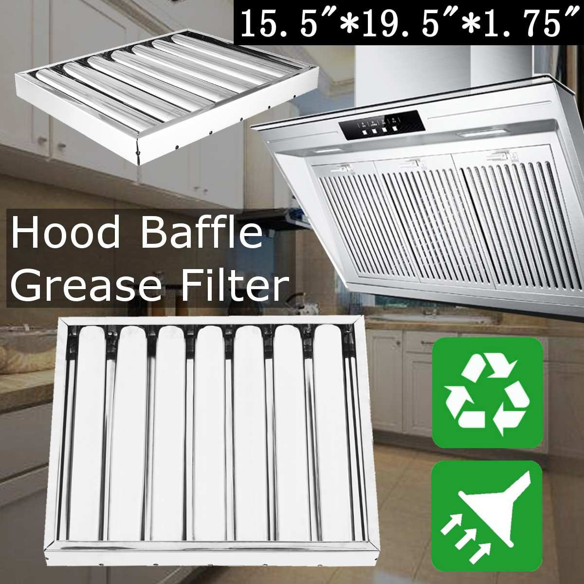 US $34.17 33% OFF|40x50x5cm Stainless Steel Kitchen Hood Extractor Fan  Grease filter baffle Hood grease filter Kitchen Cooker Clean Pollution  mesh-in ...