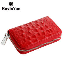 KEVIN YUN designer brand fashion women credit card holder genuine leather small zipper female card case wallet(China)