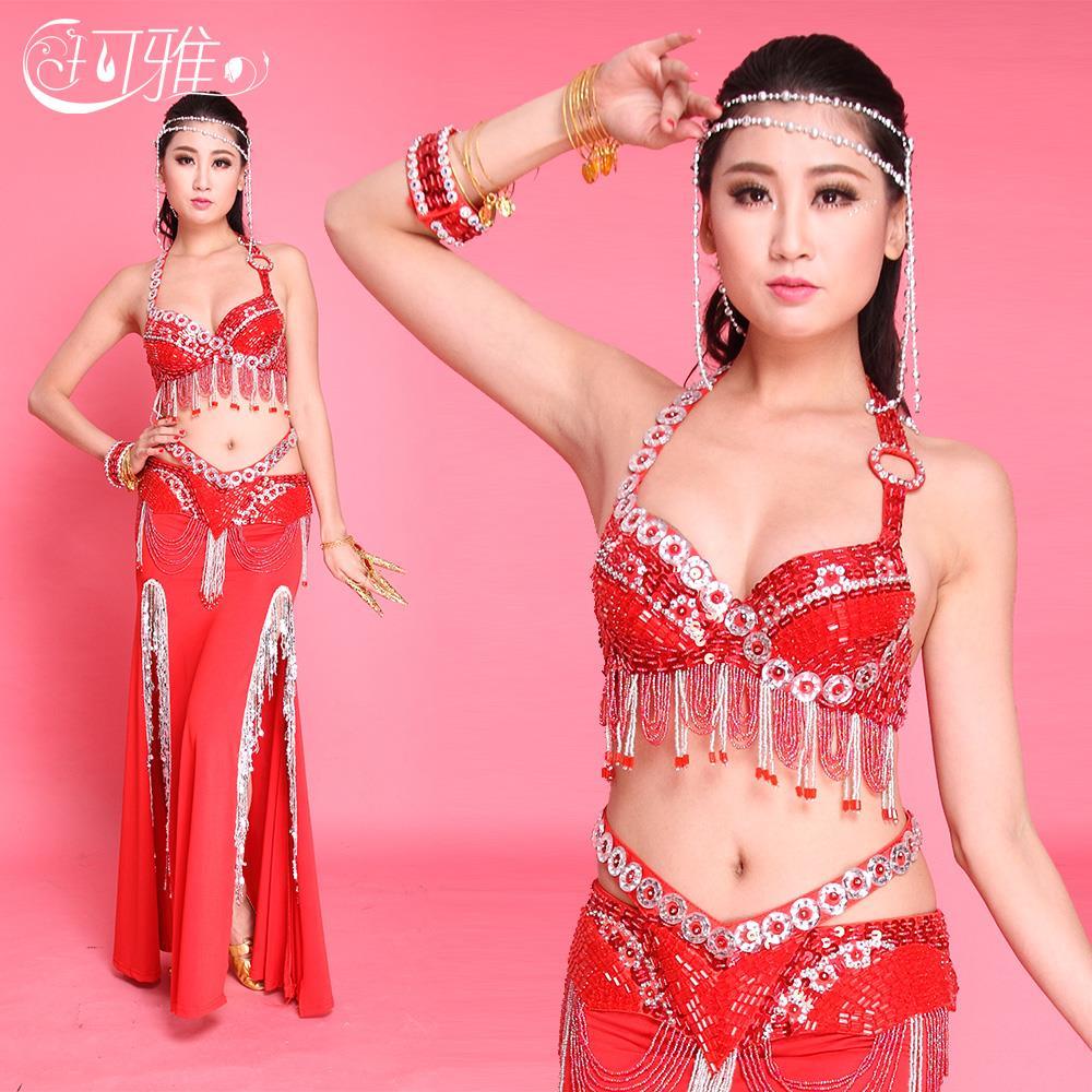 ̿̿̿(•̪ )Traje de la danza del vientre traje de cuentas sujetador (34 ...