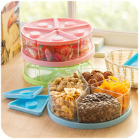 5 grid sealed fashion creative snacks and dried fruit tray, covered candy dish seeds dried fruit box K4577