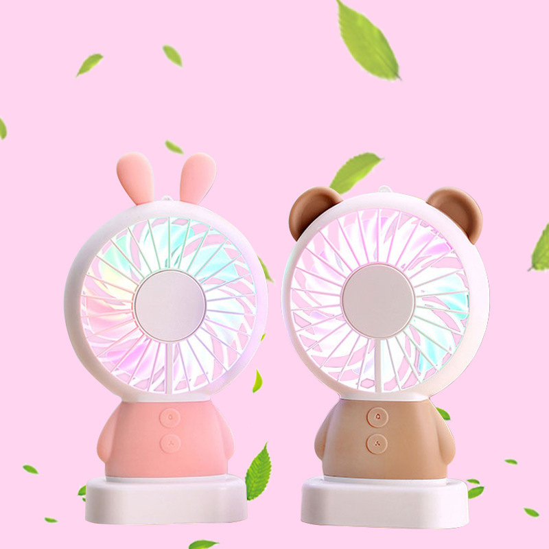 Portable USB Power Fan Mini Bear Rabbit Ventilator Handheld Fan Rechargeable Fan Portable Cool Sunmer Colorful LED Light Fan
