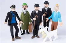 6pcs 1set  The Adventures of  Tintin Table Desk INS Doll Plush Stuffed Baby Child Toys Gift Figurine Making Cake Model 1x the adventures of tintin figure set destination moon new