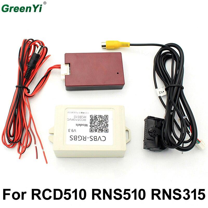 V9.3 CVBS RGB Adapter and AV to RGB Converter Adapter For VW Volkswagen RCD510 RNS510 RNS 510 RNS 315 RCD 510 Flip Logo Camera