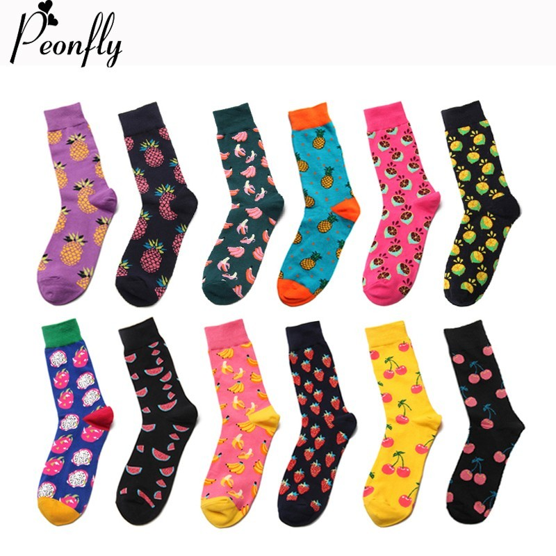PEONFLY Autumn Winter Casual Cotton Men Dress   Socks   Fashion Colorful Banana Lemon Pineapple Cherry Funny Fruit Happy Long   Socks