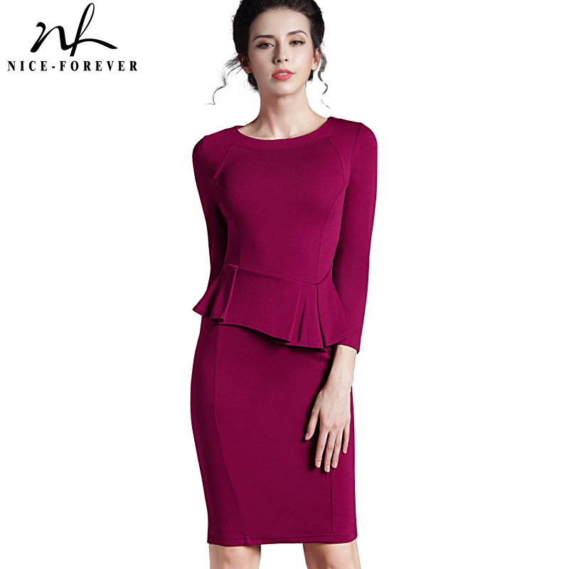 Хорошее-Forever женское винтажное платье с рукавом 3/4, с баской, на молнии, для офиса, vestidos, деловые вечерние, вечерние, повседневные, офисные пла...