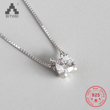 100% S925 sterling silver inlaid zircon box chain necklace
