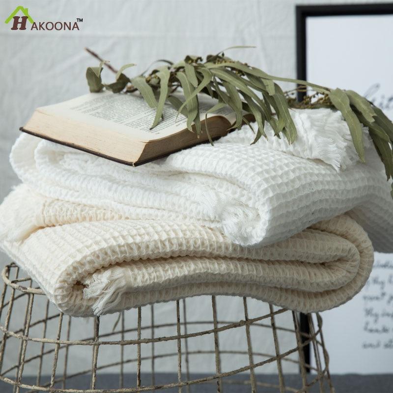 HAKOONA Japanese Style  Cotton Waffle Thin  Towel Quilt  Blankets Beds Thorw Honeycomb  Blanket Washable 140*200cm 100*140cmHAKOONA Japanese Style  Cotton Waffle Thin  Towel Quilt  Blankets Beds Thorw Honeycomb  Blanket Washable 140*200cm 100*140cm