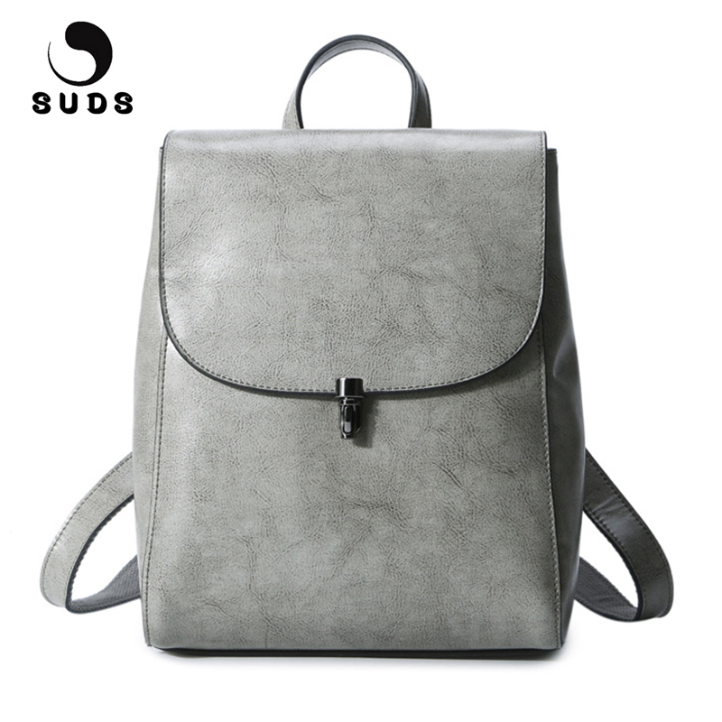 SUDS Brand Genuine Leather Women Backpacks New Fashion Preppy Style Traveling Backpacks Cow Leather School Bags For Teenagers 2016 new fashion black pu leather women backpacks preppy style school bags for teenagers casual travel vintage mochila masculina