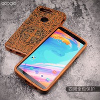 Original Wood Case For OnePlus 5T Hard Carved Pattern Retro Coque Protective Back Cover Cases For
