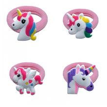 1pcs Unicorn Elastic Hair Rubber Band Headbands Kids Hair Accessories Girl Hair Band Cartoon Party Supply(China)