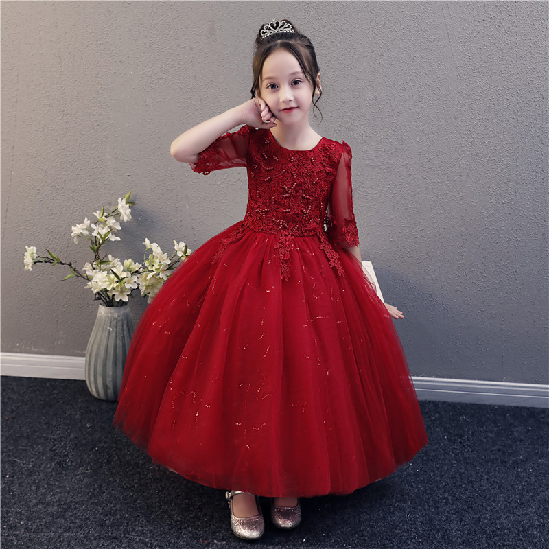 Exquisite Fancy Flower Little Girl Dress Kids Red Half Sleeves Princess Dress Beading Puffy Birthday Pageant  Party Dresses|Dresses| |  - title=