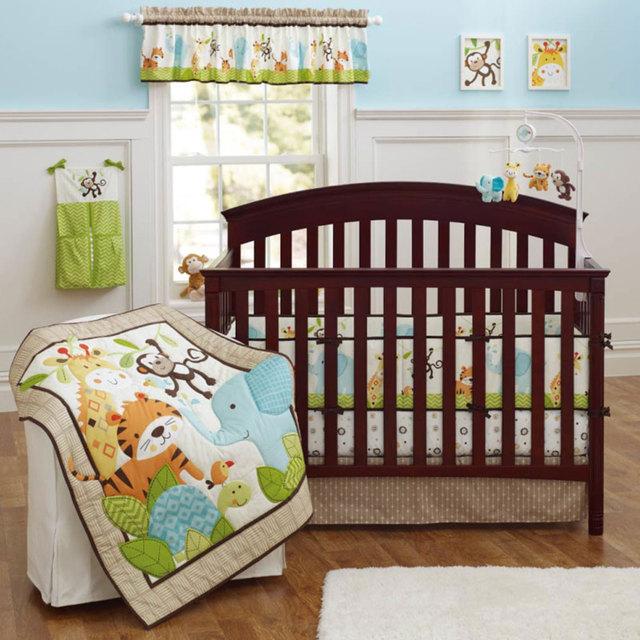 Moonpalace niño animal de la selva diversión cuna bedding set safari bebé, niña, niño 4 unidades cuna bedding y parachoques conjunto falda