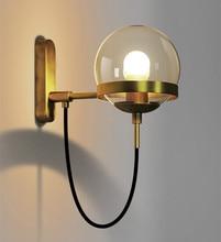 Фотография Simple Post Modern Vintage Wall Light American Style Restaurant Cafe Glass Ball Iron Wall Lamp Free Shipping