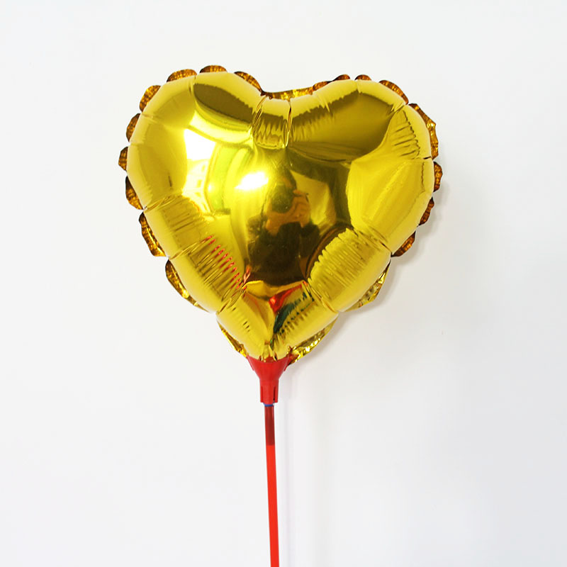 100pcs lot 8 5inch GOLD heart balloons small foil ballon with stick and cups air filled globos for wedding birthday supplies in Ballons Accessories from Home Garden