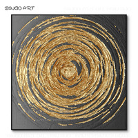 Artist Hand painted High Quality Abstract Black Oil Painting on Canvas Golden Black Abstract Thick Paints Painting for Wall Art
