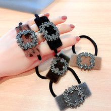 Korea Wool New Style Flower Rhinestone Hair Accessories Bows Elastic Bands Rubber Band Ring Headbands For Girls