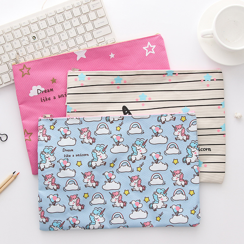 A4 Unicorn File Holder Cute Oxford Document Bag Pencil Case Korean Stationery Gift Office School Supplies ZAKKA