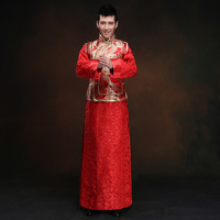Chinese Traditional Wedding Groom Cheongsam Top Red Satin Qipao Men Chinese Dragon Costume Hanfu Embroidered Mens Suits