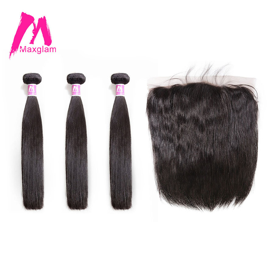 Maxglam Brazilian 3 Human Hair Bundles with Frontal Straight Remy Lace Frontal Closure with Bundles Hair