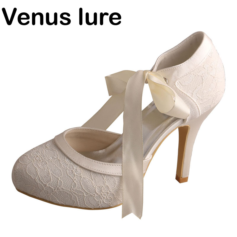 Venus lure Top Selling Women Platform Mary Jane Ivory Lace wedding shoes for women Closed Toe mary sterling jane algebra i for dummies