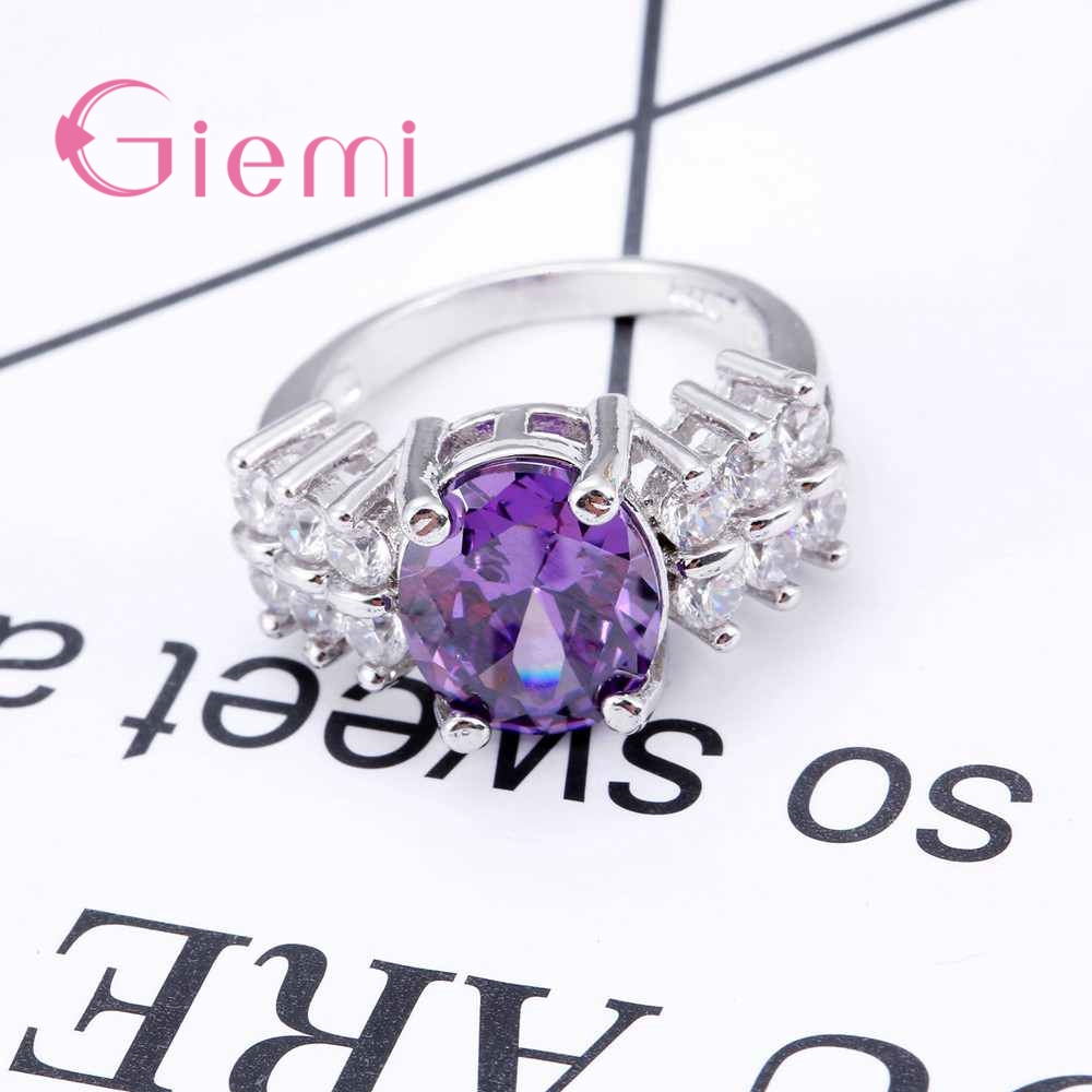 GIEMI Big Size Solid 925 Sterling Silver Ring with Micro Paved AAA CZ Crystal High Polished Lead & Nickel Free Ring for Women