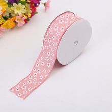 Hot Craft Ribbon 3.8cm Two-Color Small Floral Clothing Sewing DIY Decoration With Single-Sided Printing Gift Wrapping