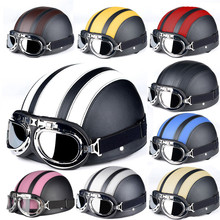Motorcycle Helmets Harley Moto Helmet Bike Bicycle Open Face Retro Half Moto Helmets With Goggles Leather Scarf Helmet Unisex