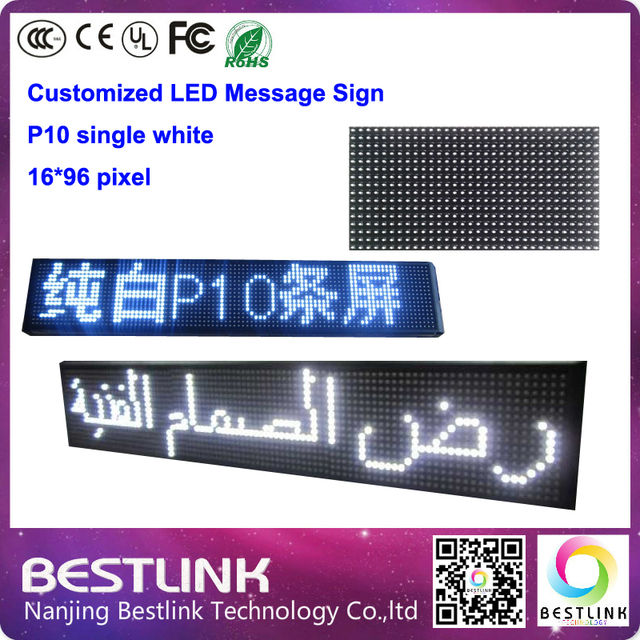 16*96 PIXEL p10 led sign board customized led moving sign single white advertising sign board taxi top led display tv screen
