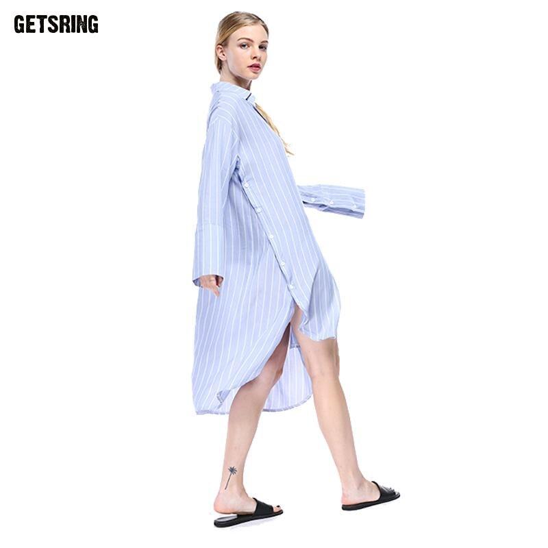 Blue Lâche Chemise Manches À Getsring white Longue De 2017 Split Nouveau Top Femmes Irrégulière Longues Fashion wqxaWB4F6