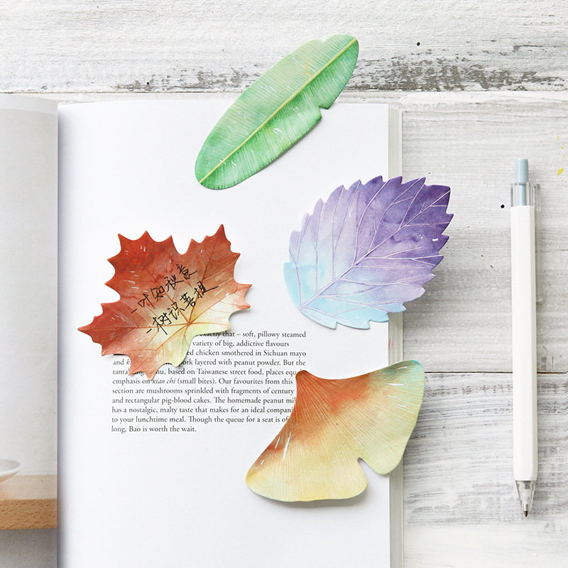 Various Leaves Collection Self-Adhesive N Times Memo Pad Sticky Notes Bookmark School Office Supply