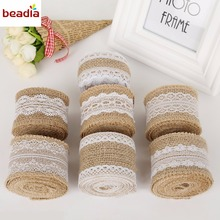 Width 5cm 2M/Roll Natural Jute Burlap Hessian Ribbon with Different White Lace For Rustic Wrap Gift Packing Wedding Decoration