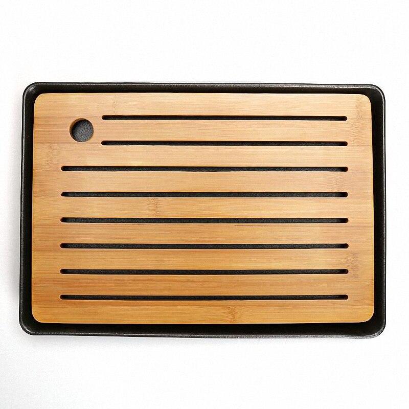 PINNY Natural Bamboo Ceramics Tea Tray Japanese Style Tea board Vintage Kung Fu Tea Sets High
