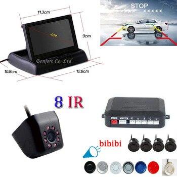 "Wholesale 4.3""LCD Car display+parktronic Camera Backup Night Vision Auto Parking 4 Sensors Car Reverse Backup Rear Buzzer Radar"