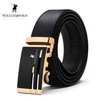 WILLIAMPOLO 2019 Genuine Leather Belt Men Luxury High Quality Mens Belt Metal Automatic Waistband With Gift Box Men Belt #18201P