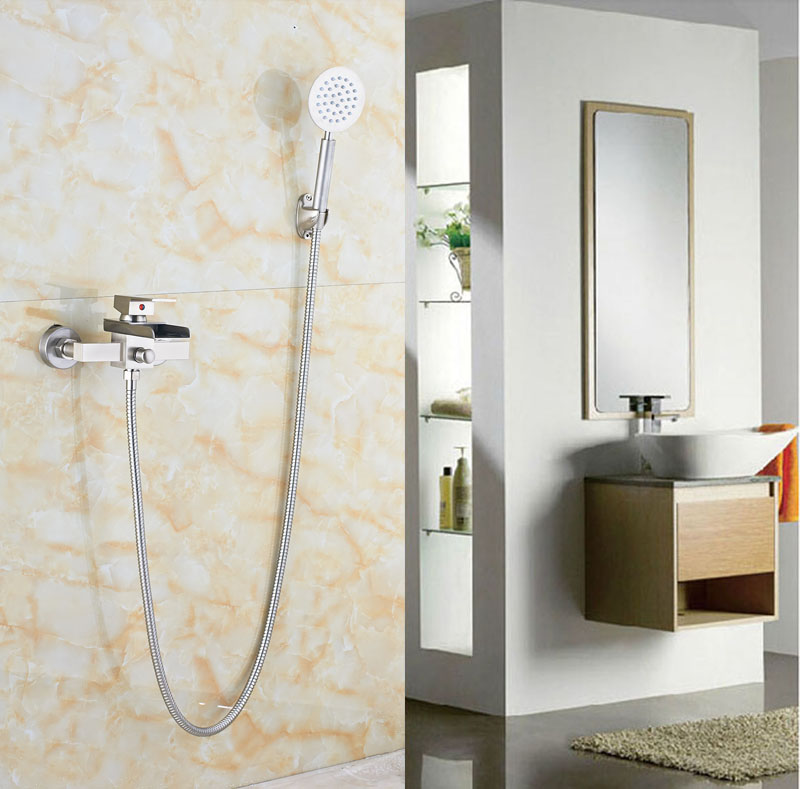 Exposed Brushed Nickle Shower Set Bathtub Shower With Hand Sprayer Single Lever Mixer Tap wholesale and retail brushed nickel shower faucet set 10 bathtub shower with hand sprayer mixer tap