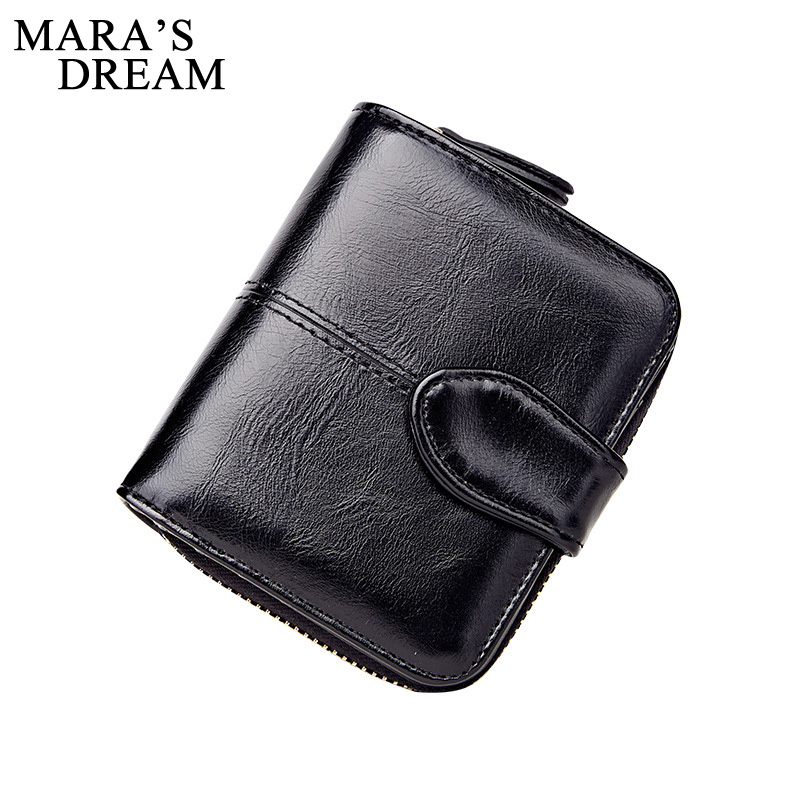 Mara's Dream 2018 Women Short Wallets Small Wallet Vintage PU Leather Solid Color Coin Pocket Card Holder Female Purse Money Bag denim small mens wallet canvas men wallets leather male purse card holder coin pocket cloth zipper money bag cartera hombre