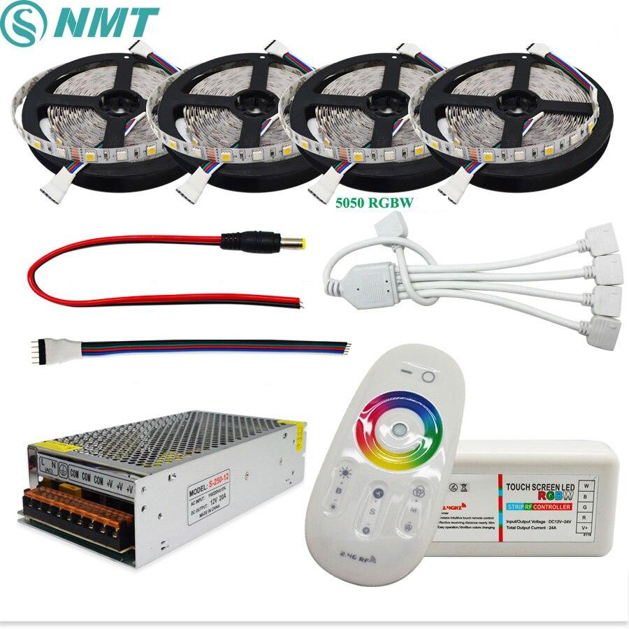 DC12V) Светодиодная лента с usb питанием 5050 SMD RGBW/RGBWW Водонепроницаемый/не Водонепроницаемый + 2,4G RF контроллер + Мощность адаптер Комплект 5, 10 м, 15 м, 20 м