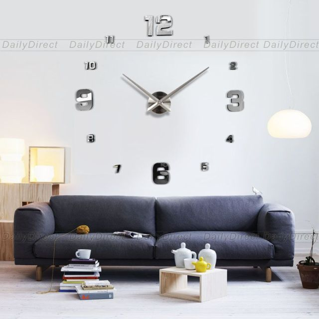 1x Large Hours Adhesive Mirror Acrylic 3D Silver Face Frameless Big DIY Sticker Wall Clock Home