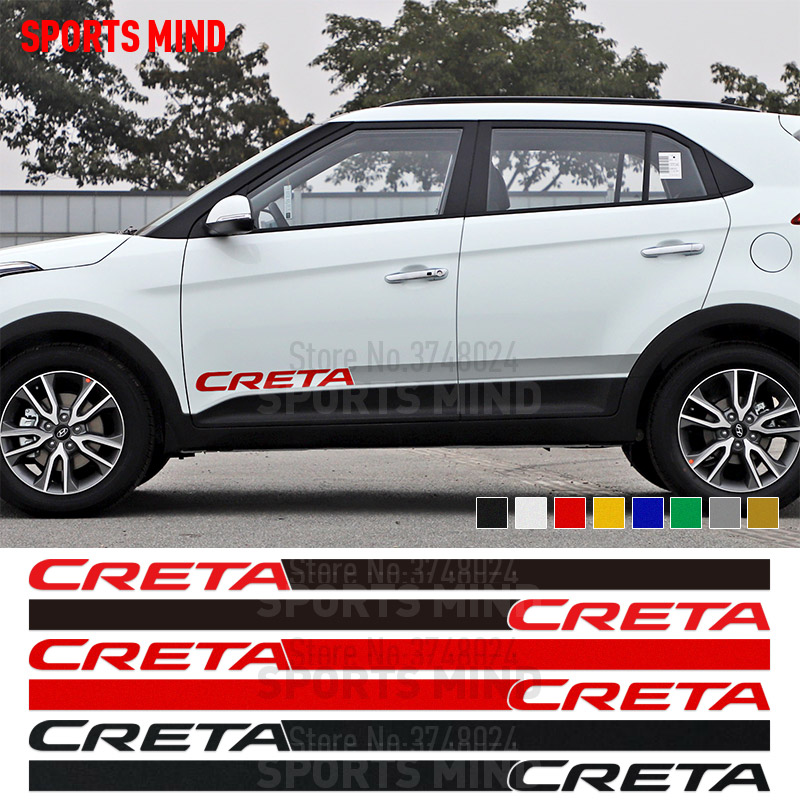 1 Pair Sports Mind Door Side Stripe Car Sticker Decal Automobiles Car Styling JDM For Hyundai Creta IX25 Exterior Accessories