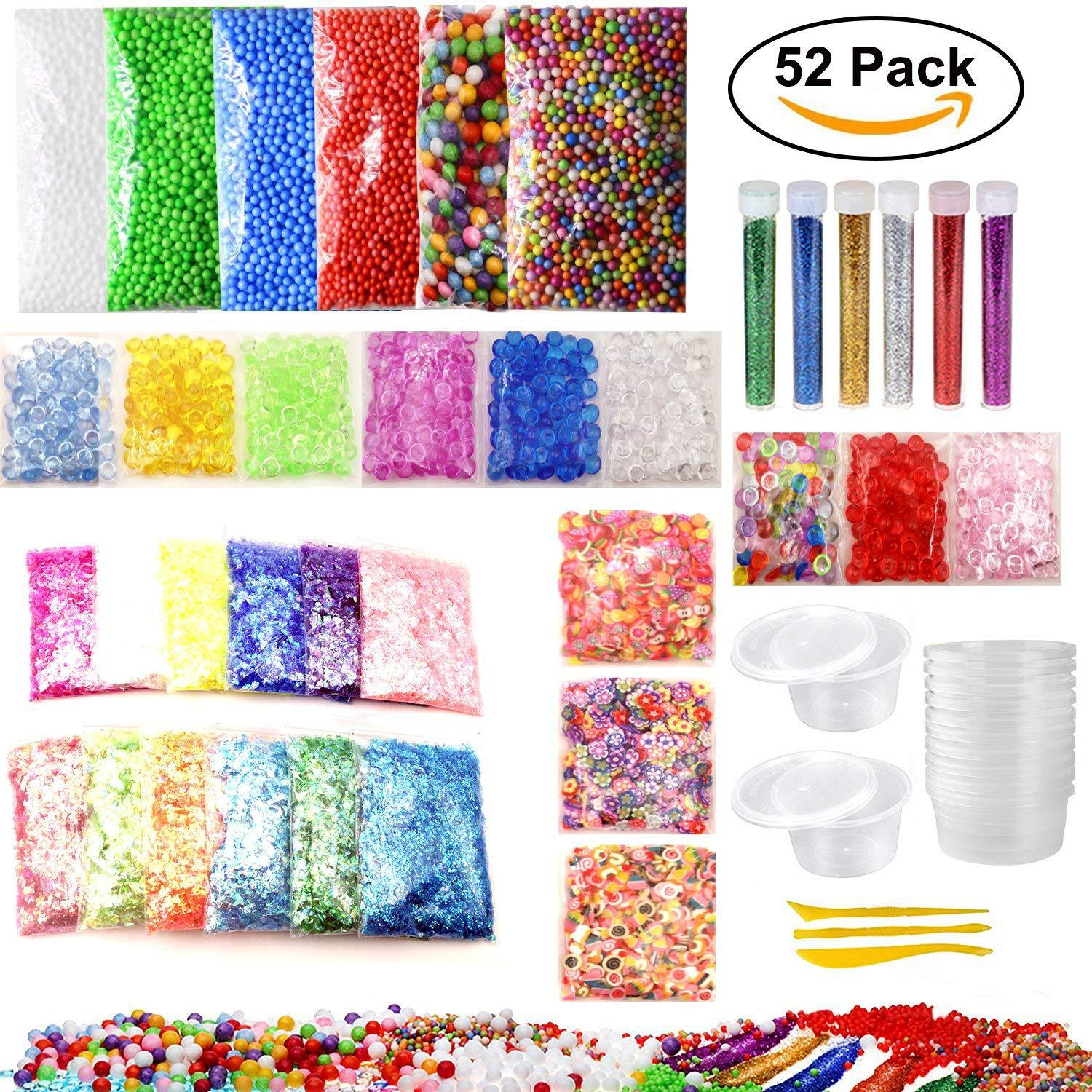 52 PCS Slime SET Making Kit Colorful Foam Ball Granules Flat Beads Gold Powder Candy Paper Polymer Clay Set Childrens DIY TOY