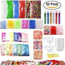 52 PCS Slime SET Making Kit Colorful Foam Ball Granules Flat Beads Gold Powder Candy Paper Polymer Clay Set Children's DIY TOY