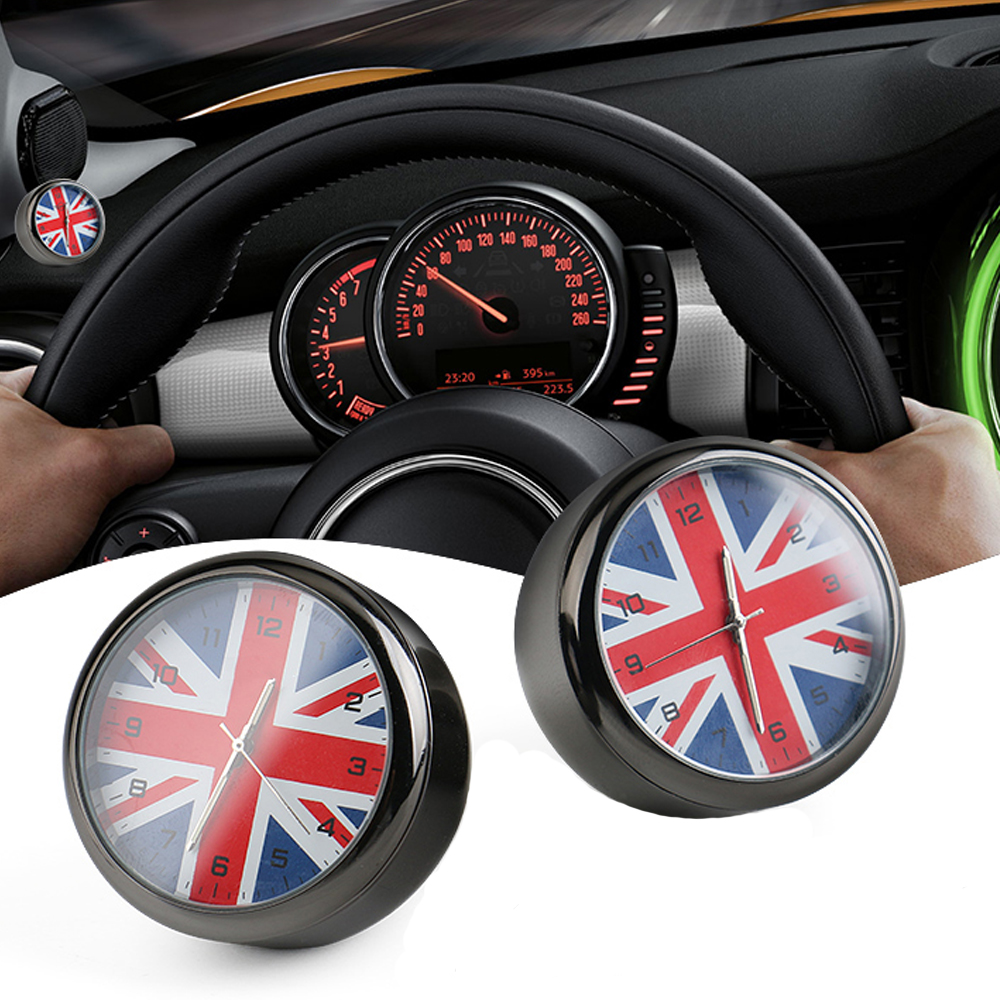 Car Styling Car Clock UK Flag Union Jack Dashboard Decor Accessories For Mini Cooper R56 R55 R57 R58 R59 R60 R61 F54 F55 F56 F60 car 3 5mm audio cable mini cooper one s jcw r55 r56 r57 r58 r59 r60 r61 f56 f55 clubman countryman 80cm car aux cable